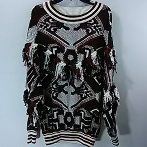Zara Trafaluc Red Black and White Sweater Size M